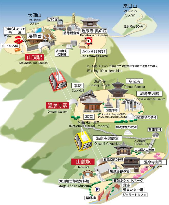 城崎ロープウェイのマップ